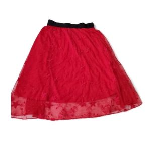 red lace lularoe jill skirt S